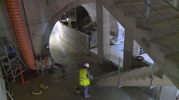 Puits Vincennes - Décembre 2017 - Maçonnerie du mur de séparation dans le rameau de liaison