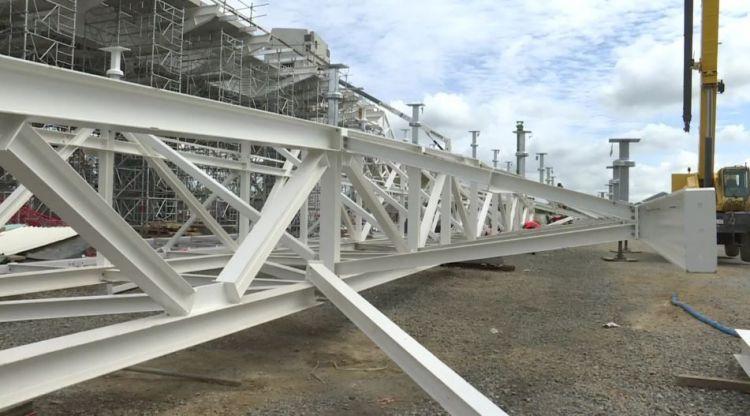 Station Cesson-Viasilva - Mai 2019 - Pose des structures métalliques