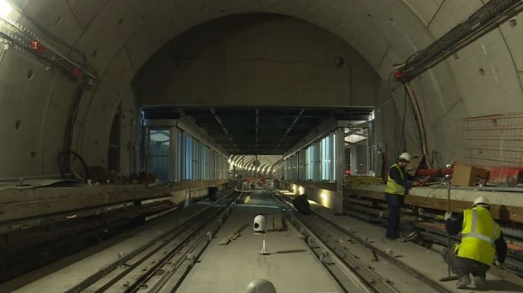 Station Saint-Germain - Janvier 2020 - Pose des rails de voie